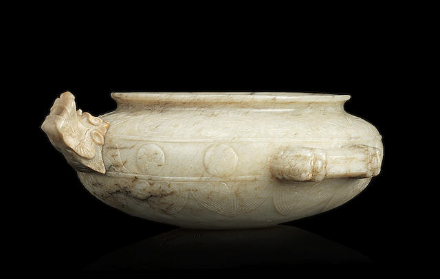 A rare archaistic jade pouring bowl Ming Dynasty, 16th/17th century