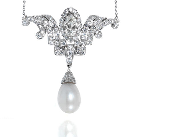 A natural pearl and diamond pendant/necklace,
