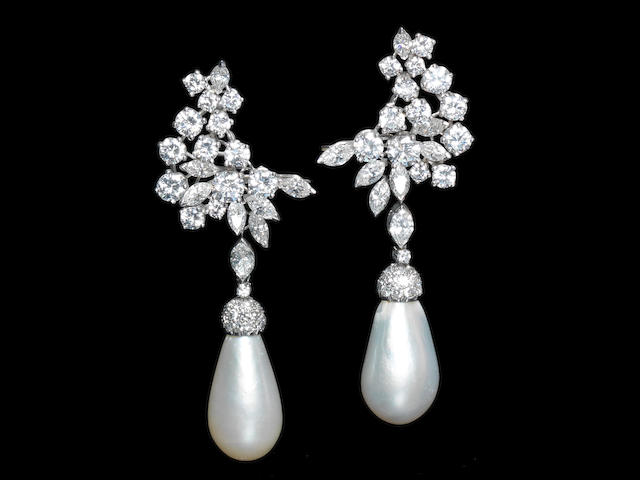 A pair of natural pearl and diamond pendent earrings,