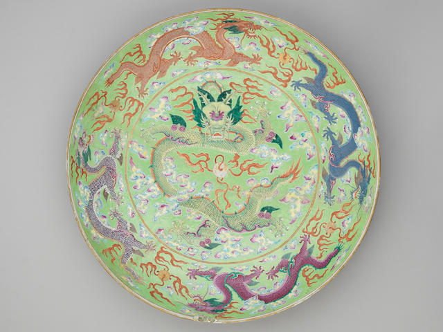 A massive famille rose lime green-ground 'dragon' dish Guangxu six-character mark and of the period