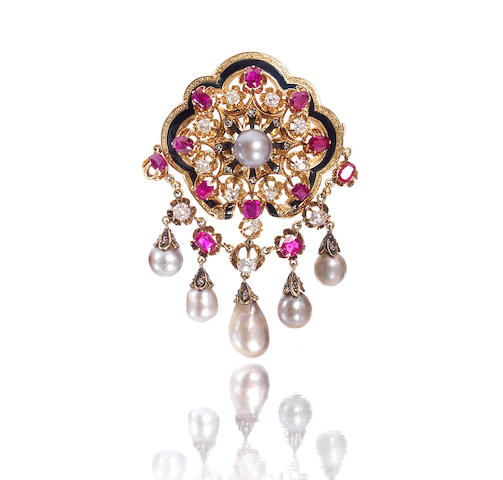 A natural pearl, ruby and diamond brooch,
