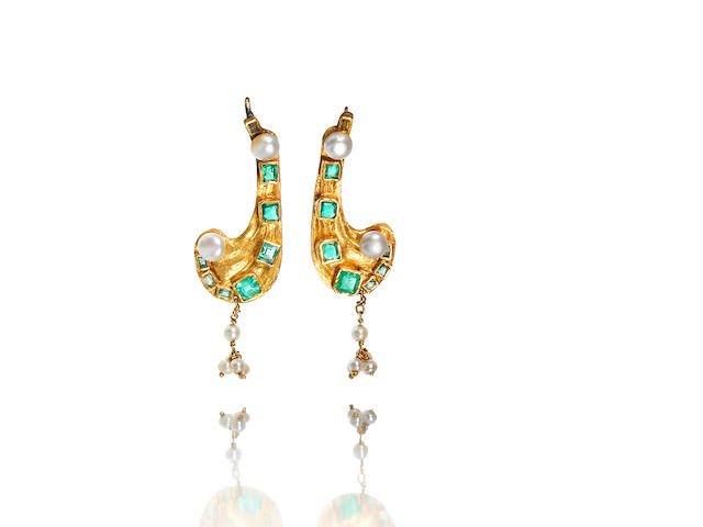 A pair of gold, emerald and pearl earrings, signed Sah,