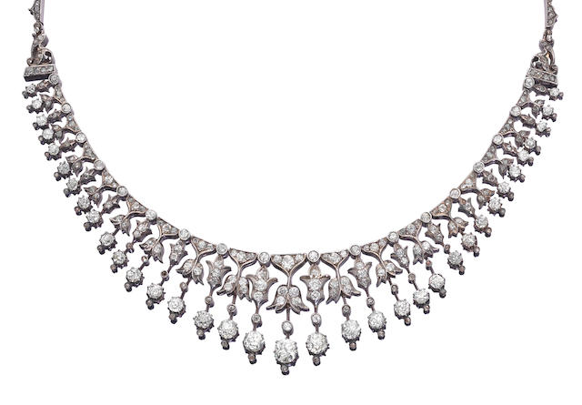 A diamond necklace/tiara combination,