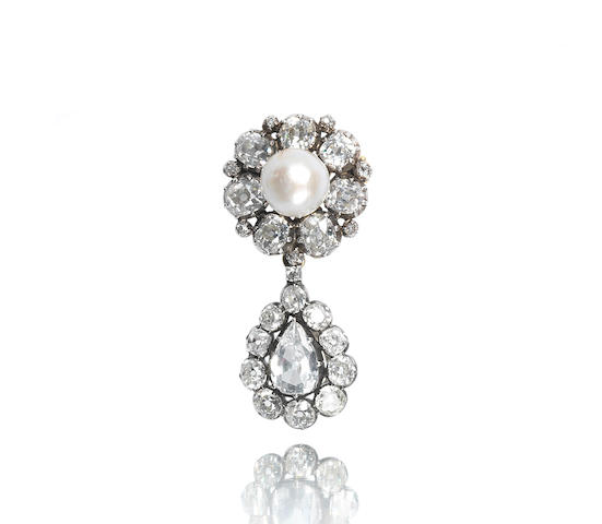 A natural pearl and diamond brooch/pendant,