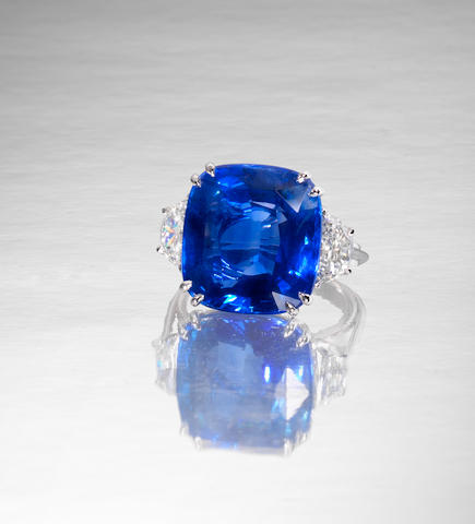 A sapphire single-stone ring