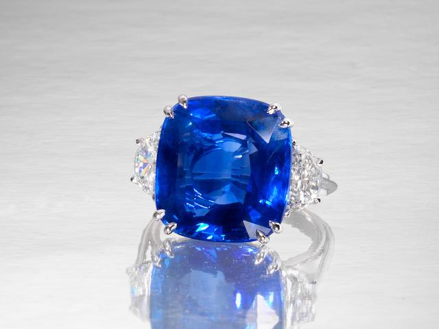 A sapphire single-stone ring