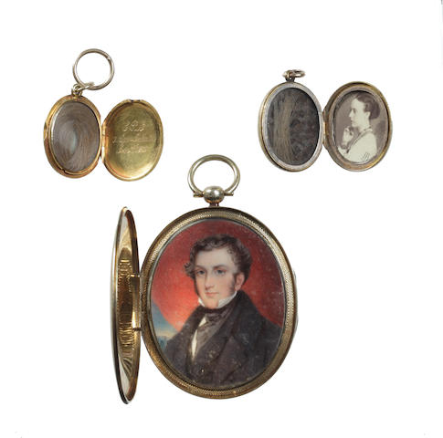 After Sir Francis Grant RA, (British, 1803-1878), Mid 19th Century A portrait miniature of William Long (1802-1875), seated before drapery and wearing black coat, waistcoat and white chemise beneath his black stock and cravat