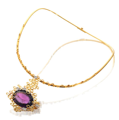 A gold, amethyst and diamond collar necklace, by Andrew Grima,