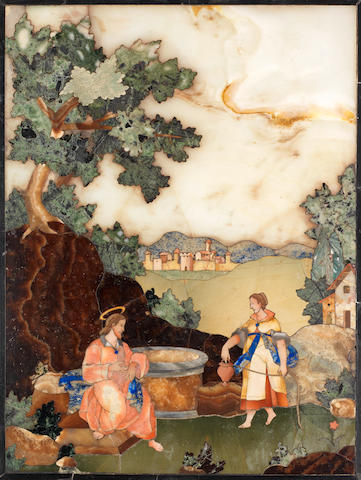 """A Florentine late 17th/ early 18th century pietre dure rectangular panel depicting """"Christ with the Samaritan woman at the well"""" possibly by Baccio Cappelli, for the Grand Ducal workshops, Florence"""