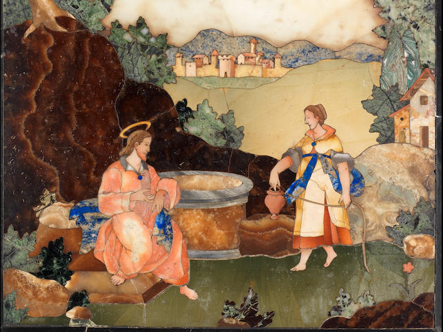 "A Florentine late 17th/ early 18th century pietre dure rectangular panel depicting ""Christ with the Samaritan woman at the well"" possibly by Baccio Cappelli, for the Grand Ducal workshops, Florence"