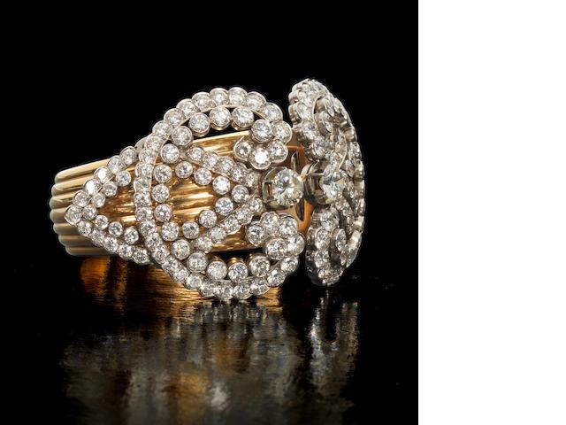 A diamond cuff bangle,