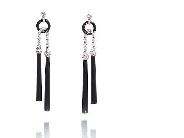 A pair of art deco enamel, onyx and diamond pendent earrings, by Van Cleef & Arpels,