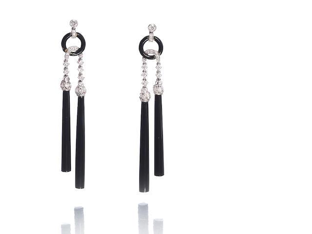 A pair of art deco enamel, onyx and diamond pendent earrings, by Van Cleef & Arpels,