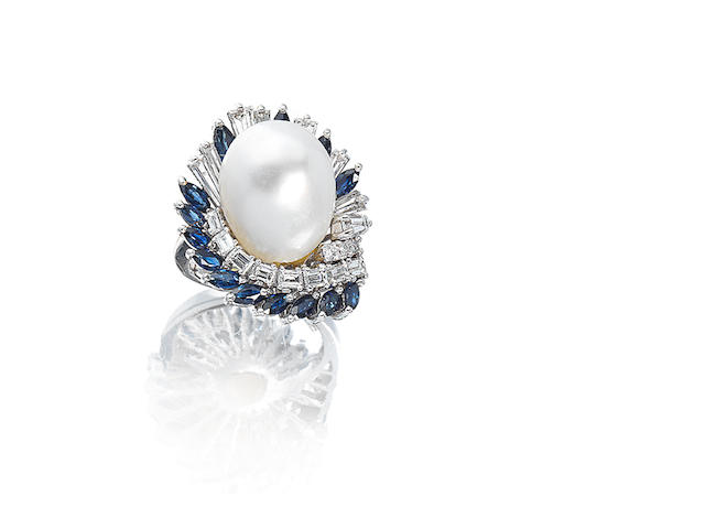 A natural pearl, diamond and sapphire cluster ring,