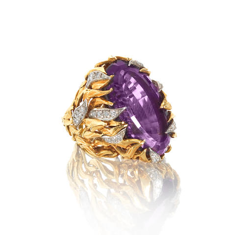An amethyst and diamond dress ring, by Andrew Grima,