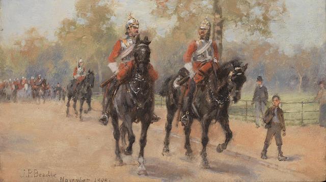 James Prinsep Barnes Beadle (British, 1863-1947) Life Guards in Hyde Park