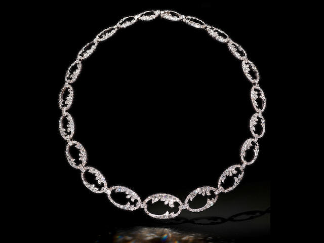 A diamond collar necklace and earring suite, (2)