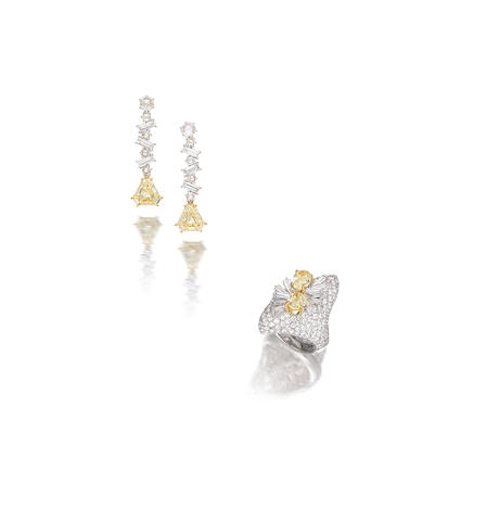 A coloured diamond and diamond dress ring and a pair of diamond pendent earrings (2)