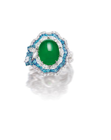 A jadeite, tourmaline and diamond ring,  by Claudia Ma