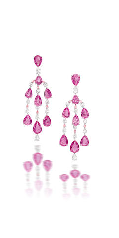 A pair of pink sapphire, diamond and coloured diamond pendent earrings