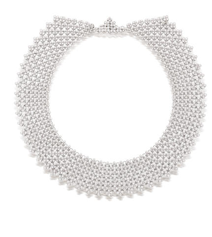 An unusual 'bib or collar' diamond necklace,  by Tiffany & Co.