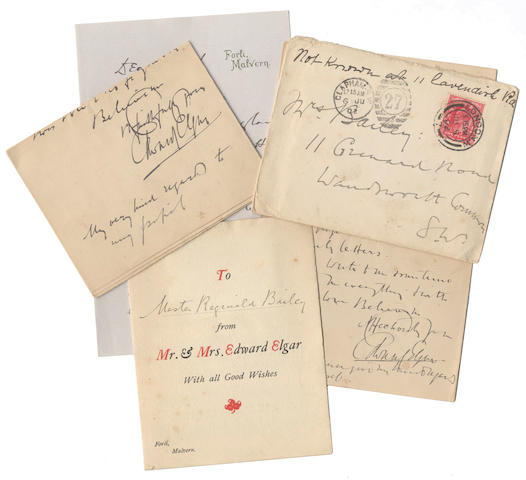 "ELGAR (EDWARD) Series of twelve autograph letters signed (""Edward Elgar""), plus one typed letter and a letter by Alice, to his pupil Reginald Hugh Bailey and Bailey's parents (mostly his mother), Forli, Malvern, and elsewhere, 1892-1906, mostly 1890s"