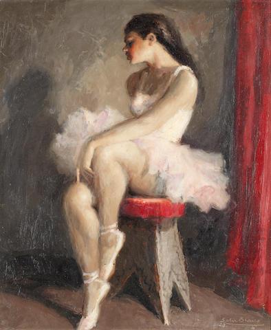 Juan Bautista Soler Blasco (1920-1984) Seated ballerinas, a pair each 50 x 42cm (19 11/16 x 16 9/16in).(2)