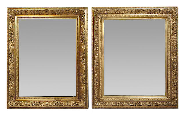 A matched pair of gilded rectangular wall mirrors