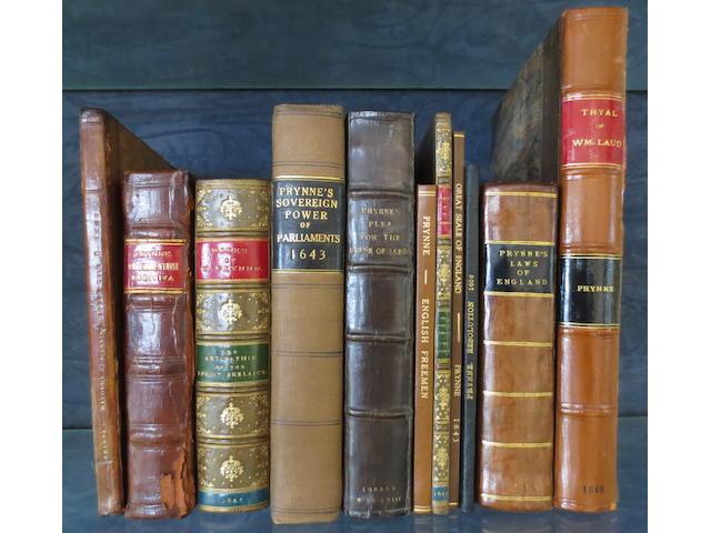 PRYNNE (WILLIAM) Aurum Reginae, 1668; Brevia parliamentaria rediviva, 1662; The Antipathie of the English Lordly Prelacie, 2 vol. in one, 1641; and 8 others, Prynne, seventeenth century (11)