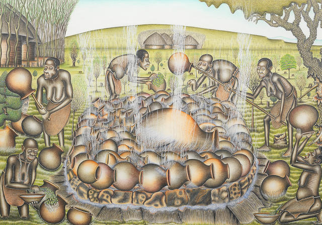 Joel Oswaggo (Kenyan, born Kenya 1944) Men collecting sorghum; Women firing pottery 52 x 75.5cm (20 1/2 x 29 3/4in); 60.5 x 40cm (23 13/16 x15 3/4in). (2)