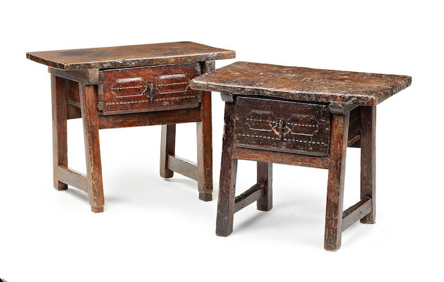 Two walnut side tables, Spanish Late 17th/early 18th century and later