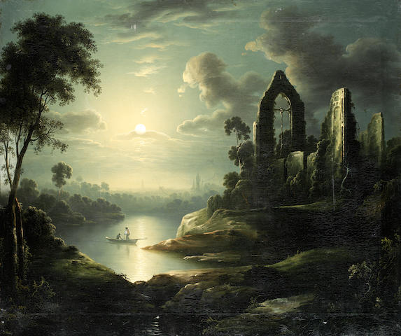 Follower of Henry Pether (British, active 1828-1865) Ruins by moonlight