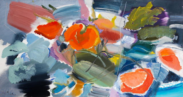 Ivon Hitchens (British, 1893-1979) Poppies Against a Grey Background 58.6 x 109.2 cm. (23 x 43 in.)