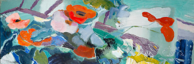 Ivon Hitchens (British, 1893-1979) A Spray of Poppies and Marguerites 48.2 x 142.2 cm. (19 x 56 in.)