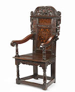 A rare and monumental Charles II oak and marquetry-inlaid panel-back open armchair, South Yorkshire/Derbyshire, dated 1670