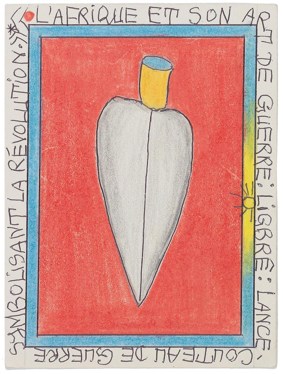 Frédéric Bruly Bouabré (Ivorian, born 1921) Eight drawings 15 x 10.5cm (5 7/8 x 4 1/8in) each (8) unframed