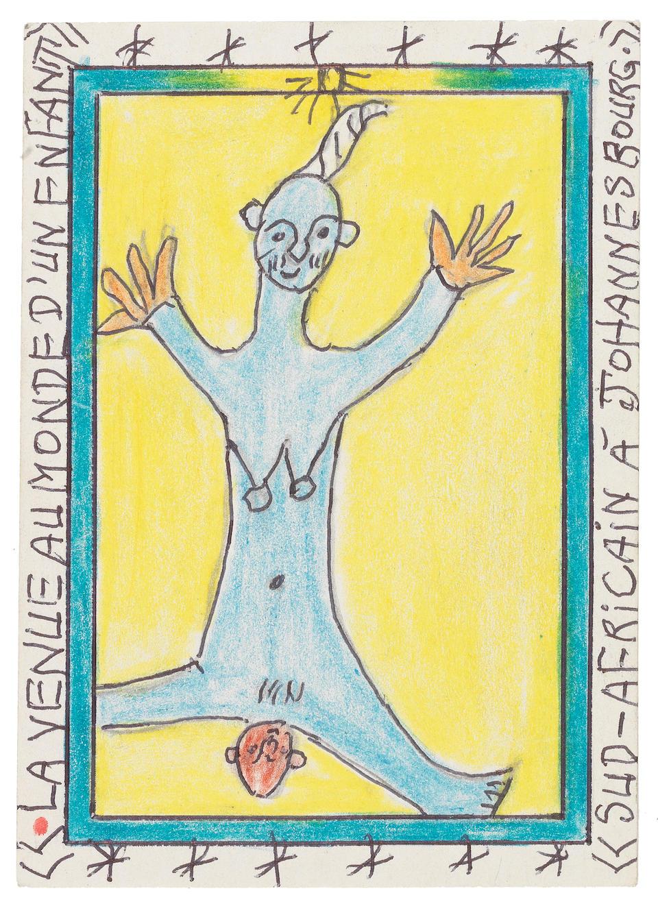 Frédéric Bruly Bouabré (Ivorian, born 1921) Twelve drawings 15 x 10.5cm (5 7/8 x 4 1/8in) each (12) unframed