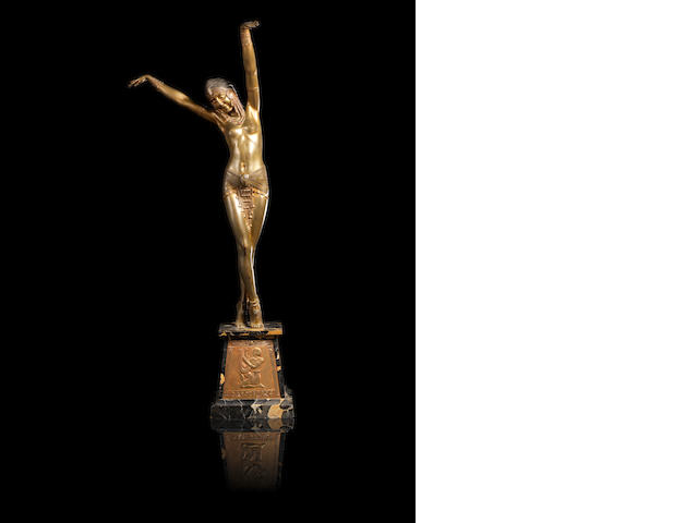 Demetre H. Chiparus (1886-1947) 'Egyptian Dancer' a Gilt and Cold-painted Bronze Figure, circa 1925
