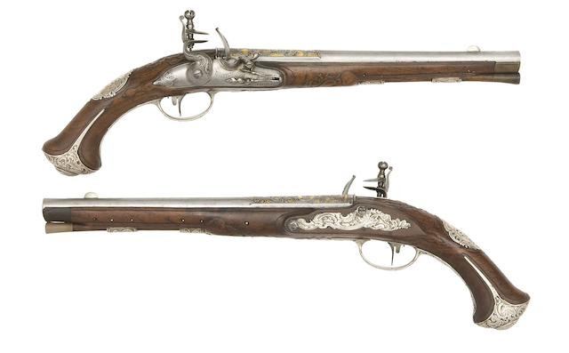 A Fine Pair Of 28-Bore Danish Silver-Mounted Flintlock Holster Pistols