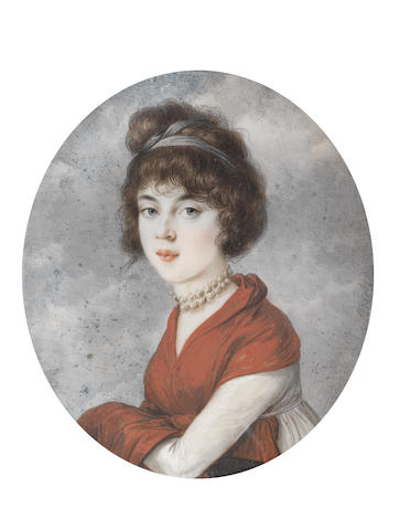 Peter Eduard Stroely (German, 1768-circa 1826) A Lady, wearing white dress and double-stranded pearl choker, her red stole draped about her, a grey bandeau in her upswept and loosely curled hair
