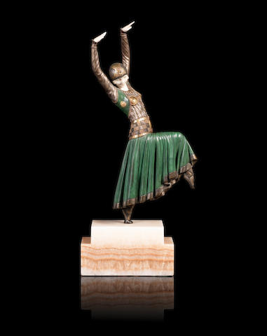 Demetre Chiparus (1886-1947) 'Vested Dancer' an Art Deco Patinated Bronze and Carved Ivory Study, circa 1925