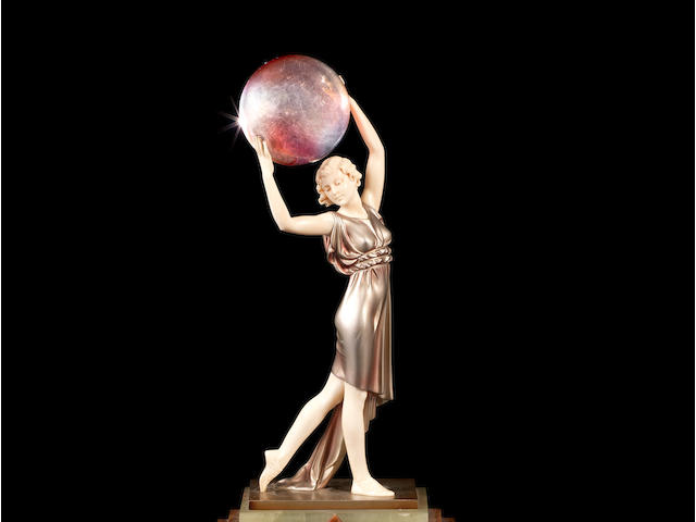 Ferdinand Preiss 'Lighter than Air' an Art Deco Patinated Bronze and Carved Ivory Study, circa 1925