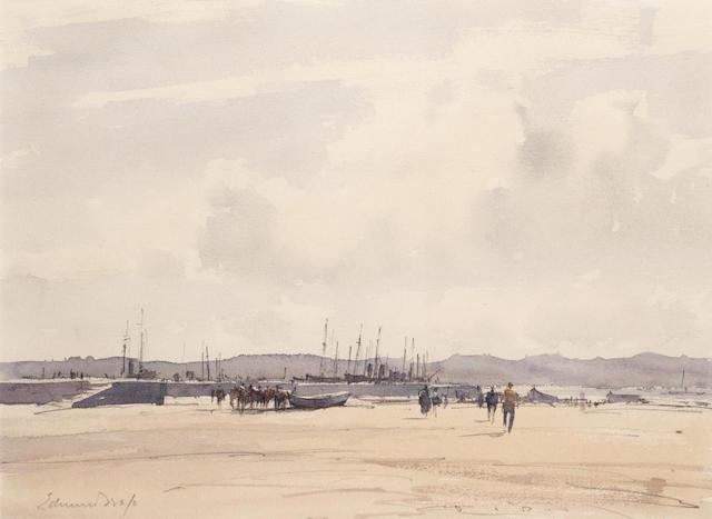 Edward Seago, RWS (British, 1910-1974) Boats in dry dock