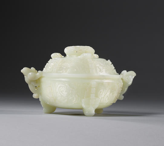 A fine and rare white jade archaistic tripod incense burner and cover Qianlong