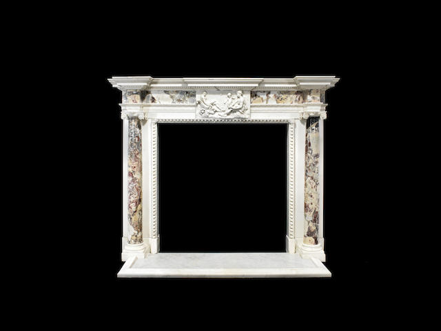 A George III Irish white marble and African breccia marble chimneypiece, probably Irish