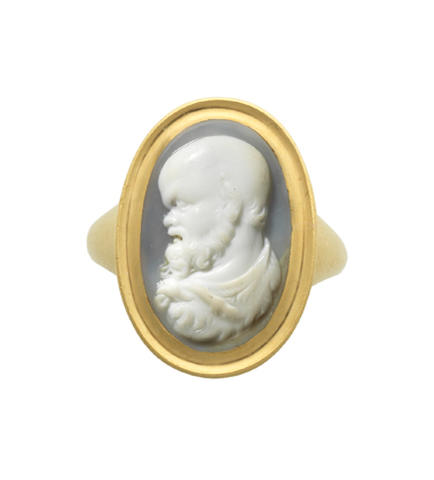 An agate cameo of Socrates,