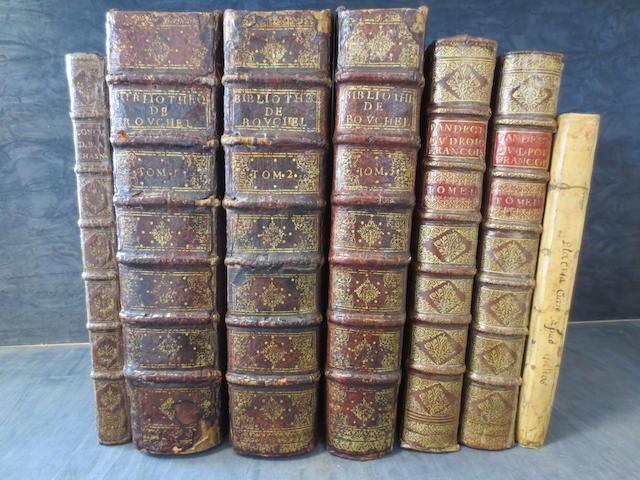 CHASSENEUZ (BARTHELEMY DE) Consilia, 1588--LE CARON (LOUIS) Pandectes, ou digestes du droict françois, 3 vol. in 2, 1607-1610--BOUCHEL (LAURENT) La bibliotheque, ou thresor du droit françois, 3 vol., 1667; and another, sixteenth century (7)