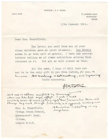 "TOLKIEN (J.R.R.) Autograph and partly typed letter signed (""J.R.R. Tolkien""),  Sandfield Road, Headington, 17 January 1964"