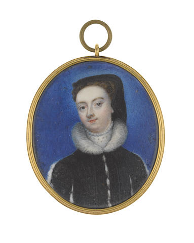 Circle of Bernard Lens (British, 1682-1740) A Lady, previously identified as Mary, Queen of Scots (1542–1587), wearing black dress with white fur edging to her neck and sleeves, lace choker finished with pearls, her brown hair upswept beneath a black hood