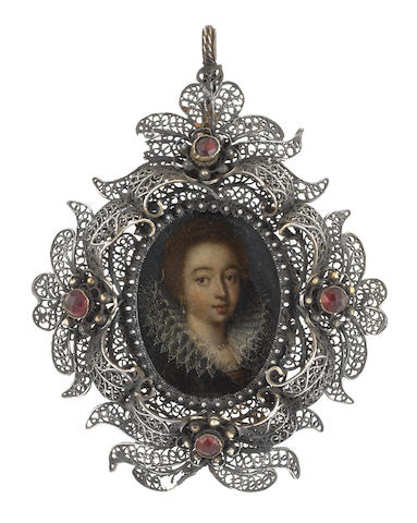 Florentine School, circa 1600 A Lady, wearing black robe over red and gold bodice, white lace ruff, pearl necklace and pendant earring, her red hair curled and upswept